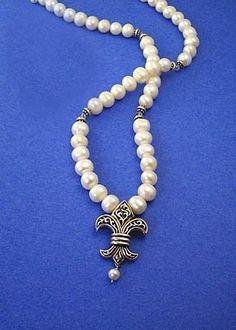 Fleur de Lis Pearl necklace by Blue Alligator Designs