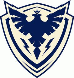 Sherbrooke Phoenix Primary Logo (2013) - A phoenix with crown above and lightning bolts below in blue on a blue and white shield