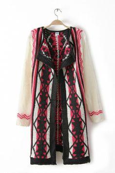 Long Pattern Geometry Sweater