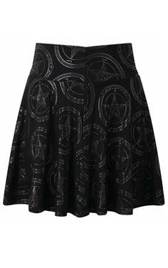 Killstar Gothic Baphomet Skater Skirt
