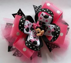 Mouse Head Miss Minnie Boutique Hair Bow. Perfect for a visit to Disney !