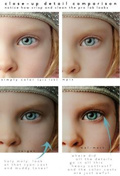 To train your eye. //  Retouching comparisons: photo lab vs. Target vs. Wal-mart
