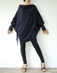 Batwing Sleeve, Long Sleeve, Asymmetrical Sweater, Kaftan, Cowl Neck Top, Handmade Clothes, Wearing Black, Midnight Blue, Beautiful Outfits