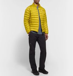 Arc'teryx Cerium Lt Quilted Arato Down Jacket In Yellow Bomber Jacket, Winter Jackets, Trousers, Mens Fashion, Yellow, Shopping, Clothes, Collection, Style