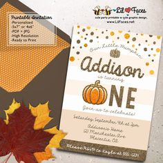 Glitter and Gold Pumpkin Birthday Party Printable Invitations First birthday…
