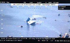 画像は、ほぼ沈没した旅客船〔韓国海洋警察庁提供・時事〕(2014年04月16日) 【時事通信社】 ▼16Apr2014時事通信|韓国旅客船沈没事故 写真特集 http://www.jiji.com/jc/d4?d=d4_hh&p=kre416-jpp017043772