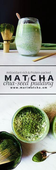 Matcha chia-seed pudding
