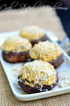 Crab Stuffed Mushrooms | insanely delicious! | from willcookforsmiles.com | #crab #seafood #appetizer