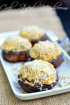 Crab Stuffed Mushrooms  willcookforsmiles.com #crab #seafood #appetizer
