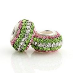 Amazon.com: Pink, Clear & Green Multiple Color Cz 925 Sterling Silver Charm/bead Chamilia Troll Pandora Bead Compatible for Pandora, Biagi, Chamilia, Troll and More Bracelets: Jewelry