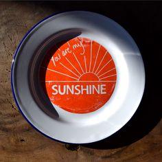 You Are My Sunshine Enamel Plate - Orange