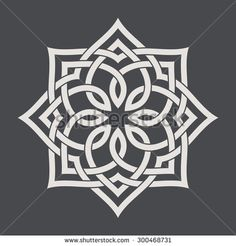 Circular pattern in arabesque style. Eight pointed star on dark background. Mandala. Lotus. - stock vector