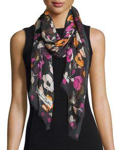 Floral+Modal+&+Cashmere+Scarf,+Black/Multicolor+by+Oscar+de+la+Renta+at+Neiman+Marcus.