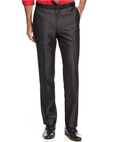Alfani Red Charcoal Sharkskin Tonal Stripe New Men's Suit Sep. Dress Pants (30W x 32L)