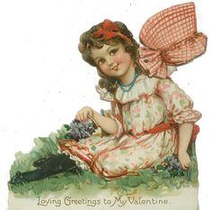 Frances BRUNDAGE Tuck Valentine Girl with Mechanical Bonnet