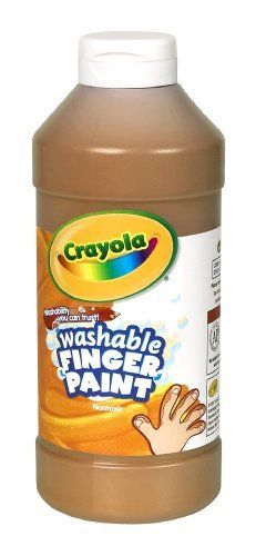 Crayola Washable Fingerpaint 32-Ounce Plastic Squeeze Bottle, Brown by Crayola. $11.99. From the Manufacturer                Washable Fingerpaint is perfect for introducing young children to the joys of painting and self-expression. Trusted brand delivers convenience and ease of use.                                    Product Description                These 9 washable colors are the right consistency and will not crack or rub off when dry. Comes in a squeezab...