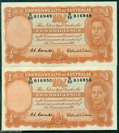 Australia R15 1952 10/ COOMBS/WILSON CONSECUTIVE PAIR VIRTUALLY U