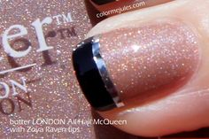 nude sparkle with black  and silver tips... This I truly like!