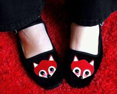 Fox Shoes - Red Fox Mary Janes - Ladies Size 7. $24.00, via Etsy.