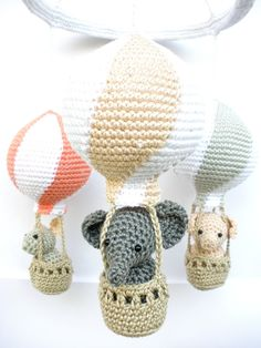 Baby Girl Nursery Mobile with Hot Air Balloons in Peach Coral and Gray, Crochet Baby Mobile by Crochetonatree on Etsy