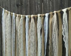 NOW ON SALE - Wedding Burlap and Lace Garlands - Swag - Rag Tie Backdrop