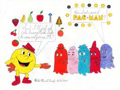 "The characters are based on the Hanna-Barbera cartoon series ""PAC-MAN"", which aired from 1982 to 1984 as a part of the ABC Saturday Morning cartoon lineup. Saturday Morning Cartoons, Hanna Barbera, Pac Man, Lineup, Snoopy, Comics, Cute, Fictional Characters, Kawaii"