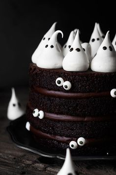 meringue ghost chocolate ganache sponge cake