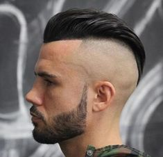 High Bald Fade Slick Back Haircut Mens Hairstyles With Beard, Cool Hairstyles For Men, Undercut Hairstyles, Hair And Beard Styles, Haircuts For Men, Short Hair Styles, Undercut Styles, Men's Haircuts, Shaved Side Hairstyles Men