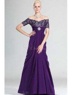 Gorgeous Purple Off Shoulder Mother Of The Bride Dress