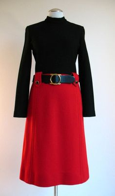 Vintage 60s Dress and Cape KIMBERLY Red Wool Knit Medium bust 37 at Couture Allure Vintage Clothing