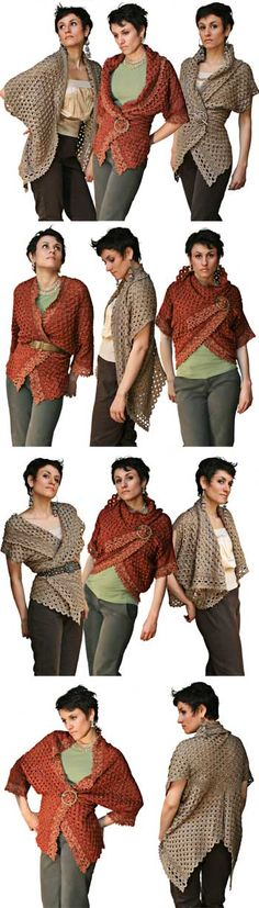 "@stitchdiva ""Endless Crochet Cardi Shawl"", pattern by Jennifer Hansen. Pattern PDF $7 at Stitch Diva Studios; kits also available. #crochet"