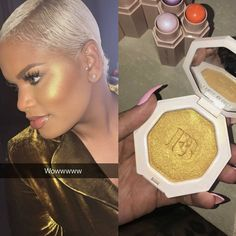 So we still have a very limited quantity of the Bestseller highlighter Trophy Wife available to order S/O to my beauty dolls who did not dull me #bankalert .... Peep that swatch by @alissa.ashley of @fentybeauty