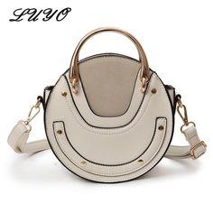 45d3d0fd79 Circular Scrub PU Leather Retro Metal Ring Luxury Mini Cloe Bag