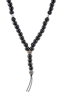Black Shamballa/Wood Necklace