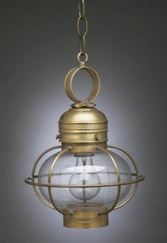 Caged Onion Hanging With Galley Antique Brass Medium Base Socket Clear Glass by Northeast Lantern. $388.50. This 1 Medium Base Socket light Hanging from the Onion collection by Northeast Lantern will enhance your home with a perfect mix of form and function. The features include a Antique Brass finish applied by experts. This item qualifies for free shipping! Check the right-hand bar or call our dedicated Sales Team for similar items and additional options not pictured.