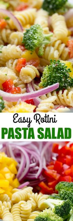 Easy Rotini Pasta Salad with broccoli, colorful peppers, zesty Italian dressing and Parmesan cheese. Make it ahead; the flavor gets even better as it sits! via /culinaryhill/