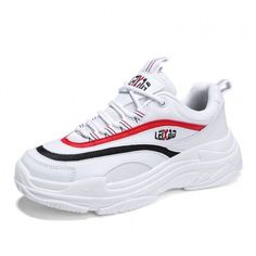4900071b1e75 Unisex Elevator School Sports Shoes White-Red Breathable Sneaker Add Taller  2.4inch   6cm