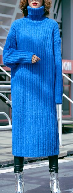 Oversized blue Sweater dresses Largo high neck tunic fall knit dresses Source by soolinen Sweater Dresses Purple Sweater Dress, Winter Sweater Dresses, Sweater Dress Outfit, Knit Dress, Knit Wear, Baggy Dresses, Fall Dresses, Dresses Dresses, Cotton Dresses