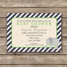 Elephant Bowtie Baby Shower Invitation  by SimplyPutPrintables