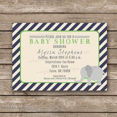 Elephant Bowtie Baby Shower Invitation  by SimplyPutPrintables