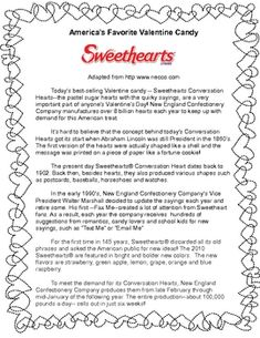 Free! Sweethearts Reading Comprehension-and Worksheet-Pinned by SOS Inc. Resources @sostherapy http://pinterest.com/sostherapy.