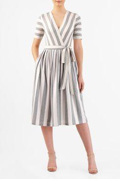 I this Stripe cotton knit surplice dress from eShakti Simple Dresses, Cute Dresses, Casual Dresses, Fashion Dresses, Women's Fashion, Knit Dress, Dress Skirt, Dress Up, Pleated Skirt