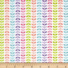 Designed by Doodlebug Design for Riley Blake, this cotton print fabric features stripes of sea vines in vibrant rainbow hues. Perfect for quilting, apparel and home decor accents. Colors include white, green, lime green, pink, light pink, lavender, purple, blue, sky blue, peach and coral.