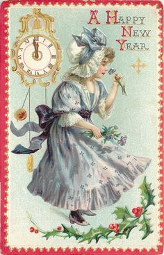 EKDuncan - My Fanciful Muse: Happy New Year - Vintage Raphael Tuck & Sons Images Vintage Happy New Year, Happy New Year Cards, New Year Wishes, New Year Greetings, Vintage Greeting Cards, Vintage Christmas Cards, Christmas Art, Victorian Christmas, Christmas Pictures