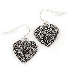 Silver Hearts Earrings Marcasite Burn Silver 'Heart' Drop Earrings - 3cm Length  http://electmejewellery.com/jewelry/silver-hearts-earrings-marcasite-burn-silver-39heart39-drop-earrings-3cm-length-couk/