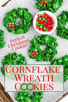 Cornflake Wreath Cookies are traditional Christmas cookie made similar to rice krispy treats but are made with cornflake cereal dyed green. They are shaped into cute wreaths that mimic a holly wreath including the holly berries (M&M's)! Christmas Wreath Cookies, Holiday Cookies, Holiday Treats, Rice Krispie Treats, Rice Krispies, Easy Christmas Crafts, Christmas Kitchen, Christmas Recipes, Holiday Recipes