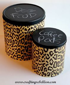 DIY Decorative Popcorn Tins- I don't like the cheetah print but I like the idea!
