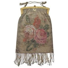 Golden Tiny Steel Beaded Impressionistic Floral Bag | From a collection of rare vintage evening bags and minaudières at https://www.1stdibs.com/fashion/handbags-purses-bags/evening-bags-minaudieres/