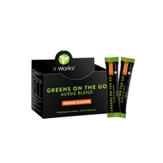 Greens on the Go - Orange or Berry | It Works Take your healthy blend of fruits and veggies on the go to help you stay energized! This convenient, single serving packet of Greens helps add nutrients and a probiotic to your daily diet at any time throughout the day. ·         Healthy blend of fruits and vegetables in every packet ·         Probiotic support ·         Just mix, shake, and go! ·         Sweet orange or berry flavour www.mandzwraps.com