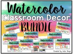 Watercolor Classroom Decor set {Includes editable birthday set, pennant set, class job set, schedule cards, number and shape posters}